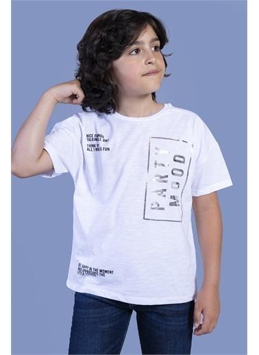 Toontoy Kids Toontoy Erkek Çocuk Düşük Kol Varak Baskılı Tişört Beyaz